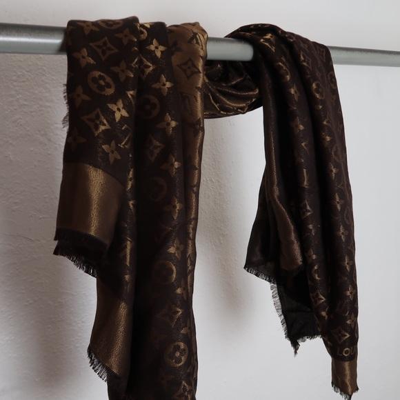 6f016fa6cf025 Louis Vuitton Accessories | Silk Monogram Shine Scarf Shawl | Poshmark
